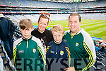 Ryan, Catriona, Killian and Tom Dennehy, Cordal  Kerry  fans at the All Ireland Senior Quarter Final at Croke Park on Sunday.