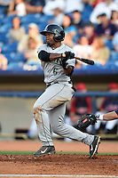 Dayton Dragons outfielder Phil Ervin (6) at bat during a game against the Lake County Captains on June 7, 2014 at Classic Park in Eastlake, Ohio.  Lake County defeated Dayton 4-3.  (Mike Janes/Four Seam Images)