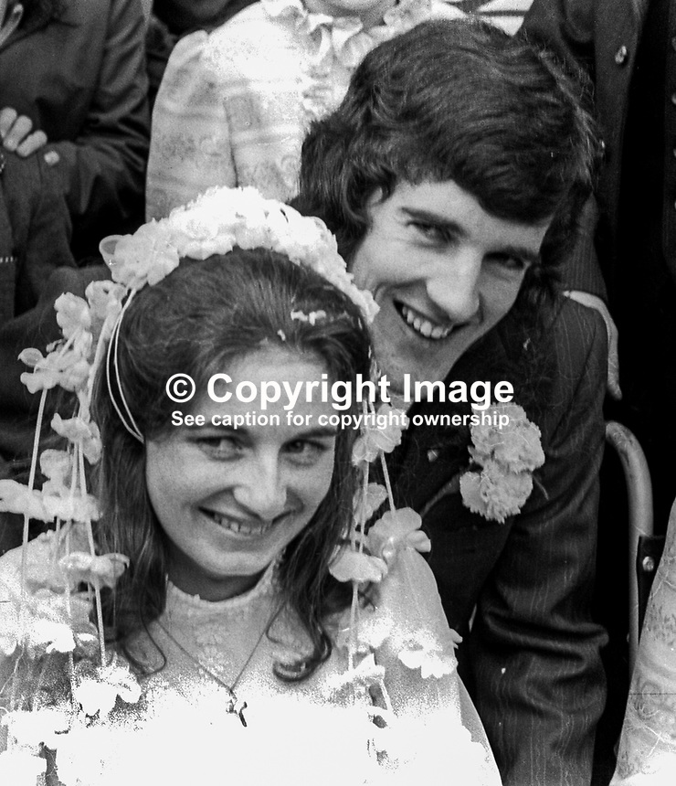 Wedding of Abercorn Restaurant bomb victim, Rosaleen McNern, pictured with her husband, Brendan Murrin, from Killybegs, Co Donegal, Rep of Ireland. They were married in Belfast 4th August 1972. 19720804028a<br />