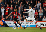 Jordan Ibe of Bournemouth challenged by Chris Smalling of Manchester United during the premier league match at the Vitality Stadium, Bournemouth. Picture date 18th April 2018. Picture credit should read: David Klein/Sportimage