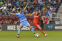 Bridgeview, IL - Saturday August 12, 2017: Yuki Nagasato, Christine Sinclair during a regular season National Women's Soccer League (NWSL) match between the Chicago Red Stars and the Portland Thorns FC at Toyota Park. Portland won 3-2.