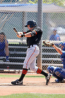 Gary Brown of the San Francisco Giants plays in a minor league spring training game against the Chicago Cubs at the Cubs minor league complex on March 29, 2011  in Mesa, Arizona. .Photo by:  Bill Mitchell/Four Seam Images.