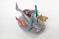 OrigamiUSA 2017 Holiday Tree at the American Museum of Natural History. Base 17 models:<br /> Echidna: Designer &ndash; John Richardson, Folder &ndash; (from stored tree models collection)<br /> Hammerhead Shark: Designer &ndash; Fernando Gilgado, Folder &ndash; Rosalind Joyce<br /> Shark: Designer &ndash; Joe Adia, Folder &ndash; Joe Adia<br /> Blue Shark: Designer &ndash; John Montroll, Folder &ndash; (from stored tree models collection)<br /> Sting Ray: Designer &ndash; Paul Frasco, Folder &ndash; Paul Frasco<br /> Grass: Designer &ndash; Rosalind Joyce, Folder &ndash; Rosalind Joyce