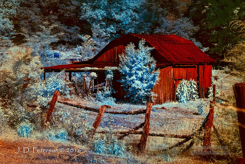 Abandoned Barn, Rural Tennessee (Infrared)   ©2016 James D Peterson.  Hard times have come to  a space once shared by people and their animals.