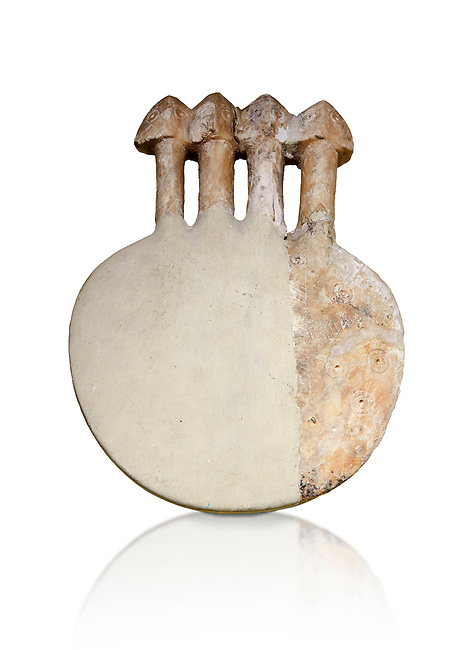 Bronze Age Anatolian four headed alabaster Goddess figurine - 19th to 17th century BC - Kültepe Kanesh - Museum of Anatolian Civilisations, Ankara, Turkey. Against a white background.