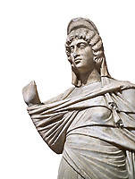 Roman statue of Julia Domina . Marble. Perge. 2nd century AD. Inv no 3268. Antalya Archaeology Museum; Turkey. Against a white background.