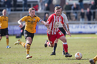 Mark Byrne of Newport County and Billy Kee of Accrington Stanley during the Sky Bet League 2 match between Newport County and Accrington Stanley at Rodney Parade, Newport, Wales on 28 March 2016. Photo by Mark  Hawkins.