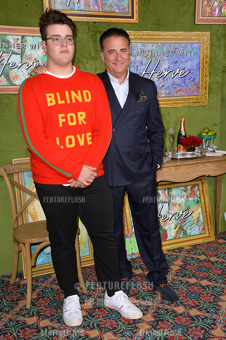 "LOS ANGELES, CA. October 04, 2018: Andy Garcia & Andres Garcia-Lorido at the Los Angeles premiere for ""My Dinner With Herve"" at Paramount Studios.<br /> Picture: Paul Smith/Featureflash"