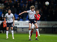Bolton Wanderers' Luca Connell competing with Middlesbrough's Ashley Fletcher <br /> <br /> Photographer Andrew Kearns/CameraSport<br /> <br /> The EFL Sky Bet Championship - Bolton Wanderers v Middlesbrough -Tuesday 9th April 2019 - University of Bolton Stadium - Bolton<br /> <br /> World Copyright © 2019 CameraSport. All rights reserved. 43 Linden Ave. Countesthorpe. Leicester. England. LE8 5PG - Tel: +44 (0) 116 277 4147 - admin@camerasport.com - www.camerasport.com