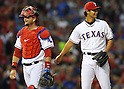 Yu Darvish (Rangers),<br /> MAY 21, 2013 - MLB :<br /> Pitcher Yu Darvish of the Texas Rangers talks with catcher A.J. Pierzynski during the Major League Baseball game against the Oakland Athletics at Rangers Ballpark in Arlington in Arlington, Texas, United States. (Photo by AFLO)