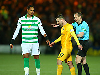 4th March 2020; Almondvale Stadium, Livingston, West Lothian, Scotland; Scottish Premiership Football, Livingston versus Celtic; Referee Willie Collum instructs Scott Robinson to leave the pitch by the shortest route