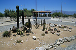 Town square cactus garden and bandstand of the small town of Bahia de los Angeles, Baja California, Mexico