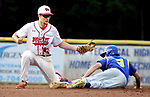 MIDDLETOWN CT. 09 June 2018-060918SV14- #9 Christian DeJarnette of Seymour slides into 2nd safe as #24 Ethan Gillotti of Wolcott gets the late throw in the 2nd inning during the CIAC Class M baseball championship in Middletown Saturday. <br /> Steven Valenti Republican-American