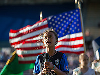 Seattle, WA - Saturday July 22, 2017: National anthem singer during a regular season National Women's Soccer League (NWSL) match between the Seattle Reign FC and Sky Blue FC at Memorial Stadium.