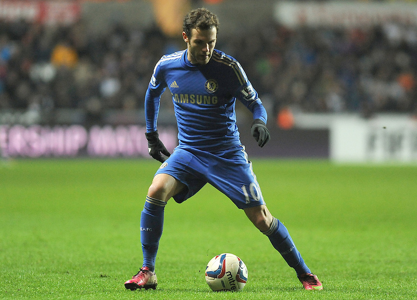 Chelsea's Juan Mata in action during todays match  . - Credit - CameraSport - Ian Cook - ..Football - Football -  Capital One Cup Semi-Final Second Leg - Swansea City v Chelsea - Wednesday 23rd January 2013 - Liberty Stadium - Swansea..