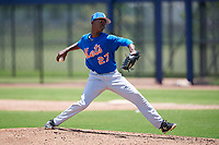 GCL Mets starting pitcher Jender De Jesus (27) delivers a pitch during a game against the GCL Nationals on August 4, 2018 at FITTEAM Ballpark of the Palm Beaches in West Palm Beach, Florida.  GCL Nationals defeated GCL Mets 7-4.  (Mike Janes/Four Seam Images)