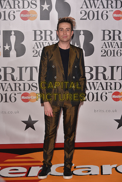 LONDON, ENGLAND - FEBRUARY 24: Nick Grimshaw attends the BRIT Awards 2016 at The O2 Arena on February 24, 2016 in London, England<br /> CAP/PL<br /> &copy;Phil Loftus/Capital Pictures