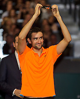 Rotterdam, The Netherlands. 16.02.2014.  Marin Cilic(KRO) at the prize giving  ABN AMRO World tennis Tournament of 2014<br /> Photo:Tennisimages/Henk Koster