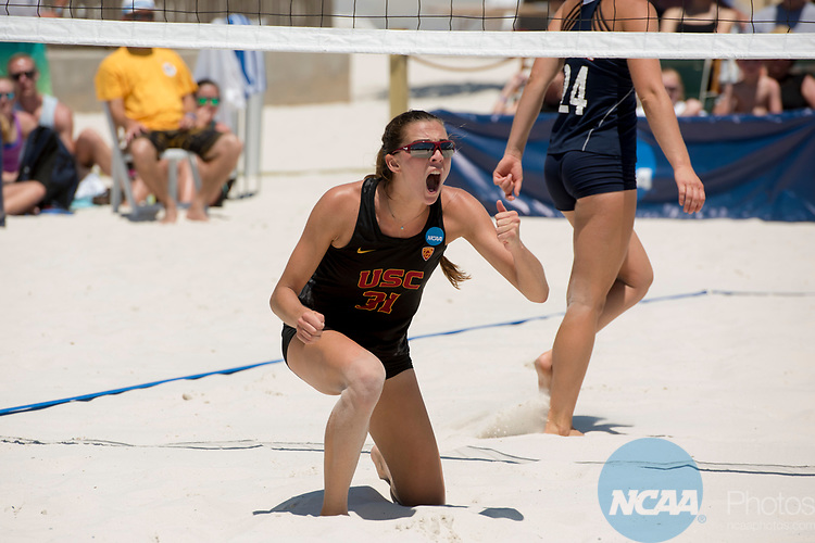 GULF SHORES, AL - MAY 07: Jenna Belton (31) of the University of Southern California celebrates scoring a point against Pepperdine University during the Division I Women's Beach Volleyball Championship held at Gulf Place on May 7, 2017 in Gulf Shores, Alabama.The University of Southern California defeated Pepperdine 3-2 to claim the national championship. (Photo by Stephen Nowland/NCAA Photos via Getty Images)