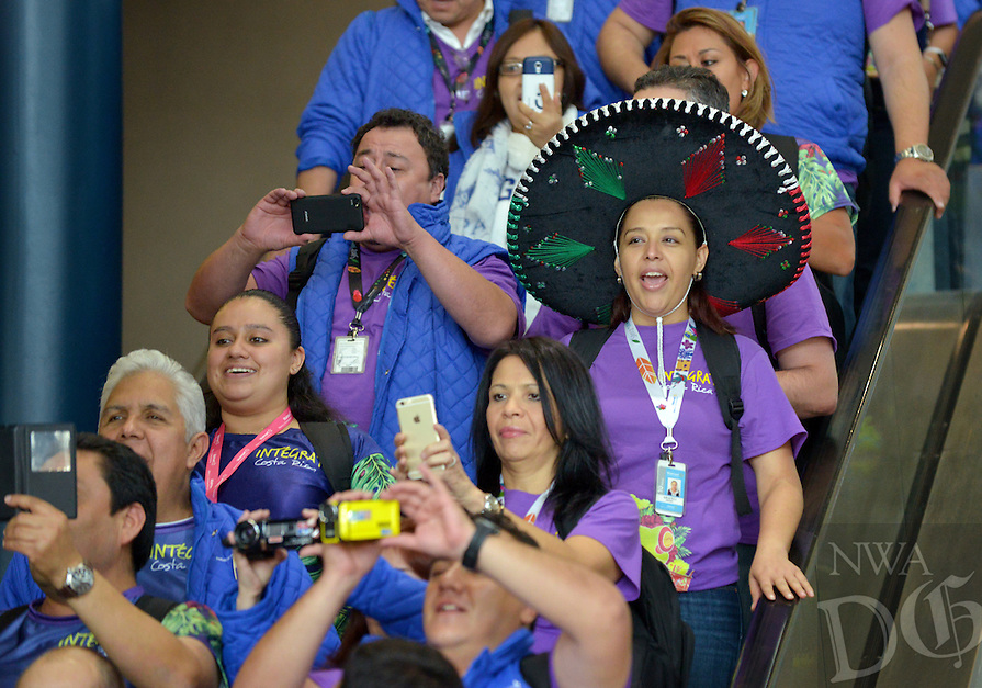 NWA Democrat-Gazette/BEN GOFF -- 06/01/15 The delegation of Walmart associates from Mexico and central American arrives for Shareholders Week at Northwest Arkansas Regional Airport in Highfill on Monday June 1, 2015.