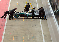 Lewis Hamilton of Mercedes-AMG Petronas Motorsport in the 2018 Mercedes-AMG F1 W09 EQ Power+ during the Mercedes-AMG F1 W09 EQ Power+ 2018 F1 Car Launch at Silverstone, England on 22 February 2018. Photo by Vince  Mignott.