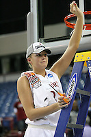 SACRAMENTO, CA - MARCH 29: Jayne Appel cuts the net after Stanford's 55-53 win over Xavier in the NCAA Women's Basketball Championship Elite Eight on March 29, 2010 at Arco Arena in Sacramento, California.