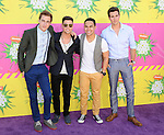 Big Time Rush arriving at the 2013 Nickelodeon Kid's Choice Awards, held at the USC Galen Center in Los Angeles, CA. on March 23, 2013.