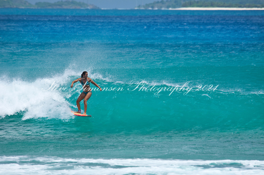 Surfers at Apple Bay<br /> Tortola<br /> British Virgin Islands