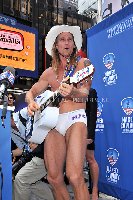 WWW.ACEPIXS.COM . . . . .  ....July 22 2009, New York City....New York singing icon Robert John Burck, also known as 'The Naked Cowboy',  held a press conference to announce the launch of the Naked Cowboy's New York City mayoral campaign at Military Island, Times Square on July 22, 2009 in New York City.....Please byline: AJ Sokalner - ACEPIXS.COM..... *** ***..Ace Pictures, Inc:  ..tel: (212) 243 8787..e-mail: info@acepixs.com..web: http://www.acepixs.com