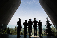 United States President Barack Obama visits the Yad Vashem Holocaust Museum in Jerusalem, March 22, 2013. Standing with the President, from left, are: Rabbi Yisrael Meir Lau; President Shimon Peres of Israel; Prime Minster Benjamin Netanyahu of Israel; and Avner Shalev, Chairman of the Yad Vashem Directorate. .Mandatory Credit: Pete Souza - White House via CNP /MediaPunch