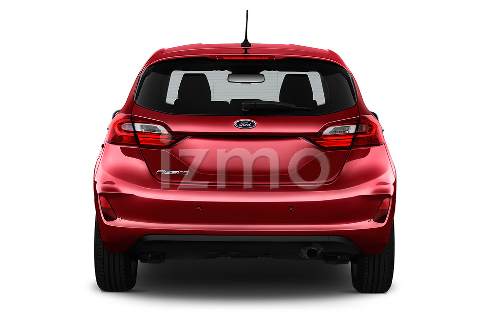Straight rear view of a 2017 Ford Fiesta Titanium 3 Door Hatchback stock images