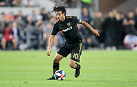 LOS ANGELES, CA - OCTOBER 29: Carlos Vela #10 of the Los Angeles FC turns with the ball during a game between Seattle Sounders FC and Los Angeles FC at Banc of California Stadium on October 29, 2019 in Los Angeles, California.