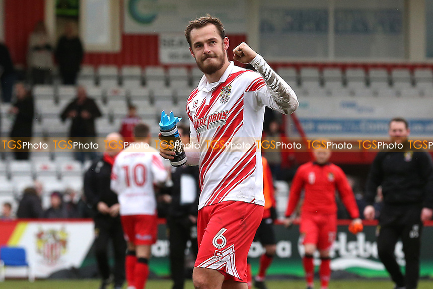Jack King of Stevenage celebrates victory during Stevenage vs Notts County, Sky Bet EFL League 2 Football at the Lamex Stadium on 4th March 2017