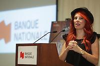 September6, 2012 - Montreal (Quebec) CANADA - <br /> Cabaret sur le Mont-Royal News Conference, hosted by Louis Vachon, CEO Bank Nationale with Pierre Boivin, Claridge, Jean Fabi, President Flex Group and artists Remy Girard and France d'Amour. IN PHOTO : France d'Amour.<br /> <br /> Cabaret sur le Mont-Royal  is a yearly fundraiser event where CEO and executives sing songs and play intrusments for Quebec Society for Disabled Children.<br /> <br /> <br /> FRENCH CAPTION - LEGENDE EN FRANCAIS:<br /> <br /> Le président et chef de la direction de la Banque Nationale, Monsieur Louis Vachon, est l'hôte d'une rencontre de presse au cours de laquelleon été dévoilés les détails d'une soirée spéciale de collecte de fonds mettant en scène des chefs d'entreprises de renom qui troqueront bilans, évaluations actuarielles et plans d'affaires pour des guitares électriques et claviers. Un événement unique au profit de la Société pour les enfants handicapés du Québec avec la participation spéciale de France D'Amour, Rémy Girard et Dominica Merola.