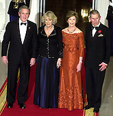 Washington, D.C. - November 2, 2005 -- United States President George W. Bush and first lady Laura Bush welcome Charles, the Prince of Wales and Camilla, the Duchess of Cornwall to the White House for a Social Dinner in their honor in Washington, D.C. on November 2, 2005. From left to right: President Bush; Camilla, Duchess of Cornwall; first lady Laura Bush, and Charles, Prince of Wales..Credit: Ron Sachs / CNP.(Restriction: No New York Metro or other Newspapers within a 75 mile radius of New York City)
