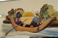 Afrique/Afrique de l'Ouest/Sénégal/Basse-Casamance/Ziguinchor : Sur le marché artisanal -détail enseigne- Pirogue sur les bolongs