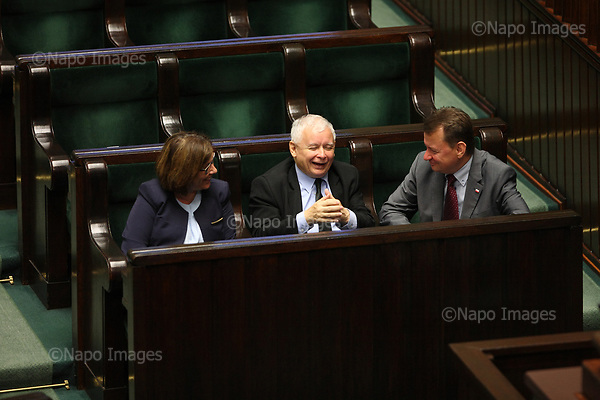 Warszawa. 18.07.2017 Szef PiS Jaroslaw Kaczynski podczas sesji parlamentarnej , na ktorej przedstawiono planowane zmiany systemu sadownictwa w Polsce, n/z Jaroslaw Kaczynski. Fot. Maciej Jeziorek / Napo Images <br /> <br /> The head of ruling political party Jaroslaw Kaczynski during the parliamentary session, which presents the planned changes to the judicial system in Warsaw, Poland, on Friday, July 18, 2017.