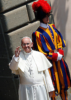 Papa Francesco saluta i fedeli al suo arrivo per la recita l'Angelus, all'ingresso della residenza estiva di Castel Gandolfo, 14  luglio 2013.<br /> Pope Francis waves to faithful as he arrives to recite the Angelus prayer from the entrance of his summer residence in Castel Gandolfo, on the outskirts of Rome, 14 July 2013.<br /> UPDATE IMAGES PRESS/Riccardo De Luca<br /> <br /> STRICTLY ONLY FOR EDITORIAL USE