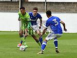 Drogheda United Dean Ebbe Ipswich Town Myles Kenlock. Photo:Colin Bell/pressphotos.ie