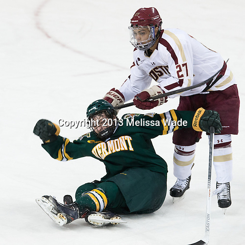 Nick Bruneteau (UVM - 4), Quinn Smith (BC - 27) - The Boston College Eagles defeated the University of Vermont Catamounts 4-1 on Friday, February 1, 2013, at Kelley Rink in Conte Forum in Chestnut Hill, Massachusetts.