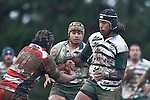 Ahsee Tuala fails to control the ball after bouncing out of the Richard Pauga tackle. Counties Manukau Premier rugby game between Karaka & Manurewa played at the Karaka Domain on July 5th 2008..Karaka won 22 - 12.