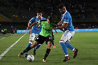 BOGOTA - COLOMBIA, 25-01-2018: Matias de los Santos (Der.) jugador de Millonarios disputa el balón con Nicolas Benedetti (Izq.) jugador del Deportivo Cali durante partido por el Torneo Fox Sports 2018 jugado en el estadio Nemesio Camacho El Campin de la ciudad de Bogotá. / Matias de los Santos (R) player of Millonarios fights for the ball with Nicolas Benedetti(L) player of Deportivo Cali during match for the Fox Sports Tournament 2018  played at Nemesio Camacho El Campin Stadium in Bogota city. Photo: VizzorImage / Felipe Caicedo / Staff.