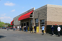 LOS ANGELES - APR 11:  Costco Line to get into store with social distancing at the Businesses reacting to COVID-19 at the Hospitality Lane on April 11, 2020 in San Bernardino, CA