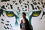 Ashwaubenon High School senior Nikhitha Murali is shown near a jaguar mural at her school on May 5, 2011.
