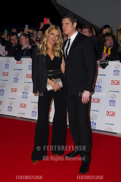 Tess Daly and Vernon Kaye arriving for the National TV Awards 2014, at the O2, London. 22/01/2014 Picture by: Dave Norton / Featureflash