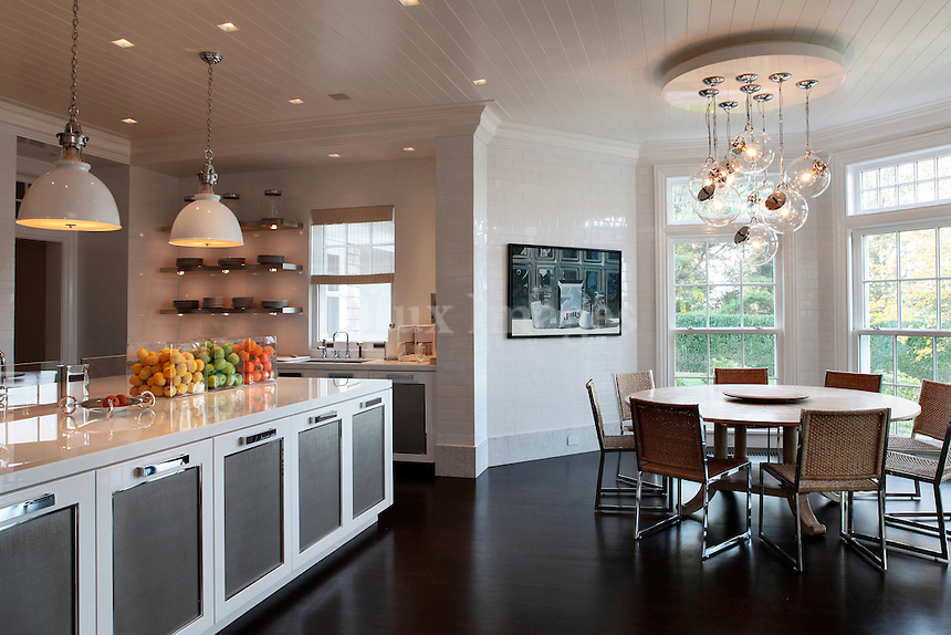 modern contemporary kitchen with dining set