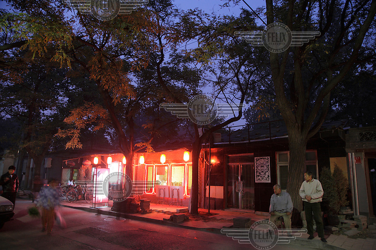 Twilight in a hutong in the Houhai district.