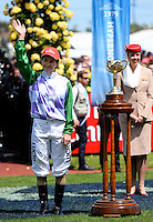 Winning jockey of PRINCE OF PENZANCE, Michelle Payne before the race<br /> VRC Spring Racing Carnival <br /> 155th Melbourne Cup / Race 7<br /> Flemington Racecourse / Melbourne <br /> Australia  Tuesday3rd November 2015<br /> &copy; Sport the library / Courtney Crow