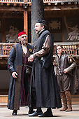 London, UK. 25 April 2015. Jonathan Pryce as Shylock, Dominic Mafham as Antonio and Daniel Lapaine as Bassanio. William Shakespeare's The Merchant of Venice is performed at Shakespeare's Globe, Globe Theatre, from 23 April - 7 June 2015. With Daniel Lapaine as Bassanio, Rachel Pickup as Portia and Jonathan Pryce as Shylock. Photo: Bettina Strenske