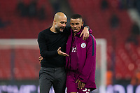 Manchester City manager Josep Guardiola talks with Gabriel Jesus <br /> <br /> Photographer Craig Mercer/CameraSport<br /> <br /> The Premier League - Tottenham Hotspur v Manchester City - Saturday 14th April 2018 - Wembley Stadium - London<br /> <br /> World Copyright &copy; 2018 CameraSport. All rights reserved. 43 Linden Ave. Countesthorpe. Leicester. England. LE8 5PG - Tel: +44 (0) 116 277 4147 - admin@camerasport.com - www.camerasport.com